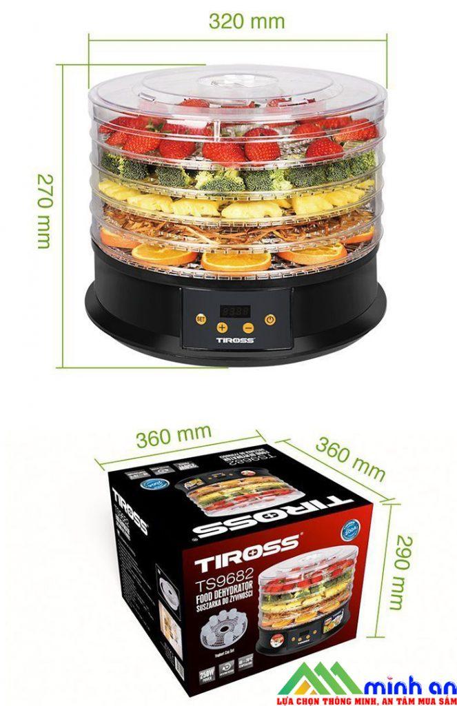 Kích thước của máy sấy thực phẩm Tiross
