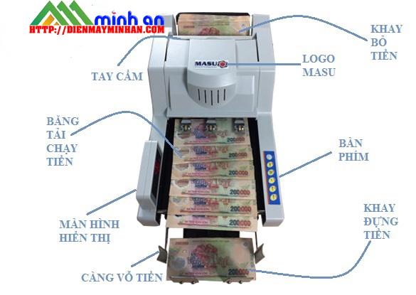 Chi tiết các bộ phận máy đếm tiền Masu 999