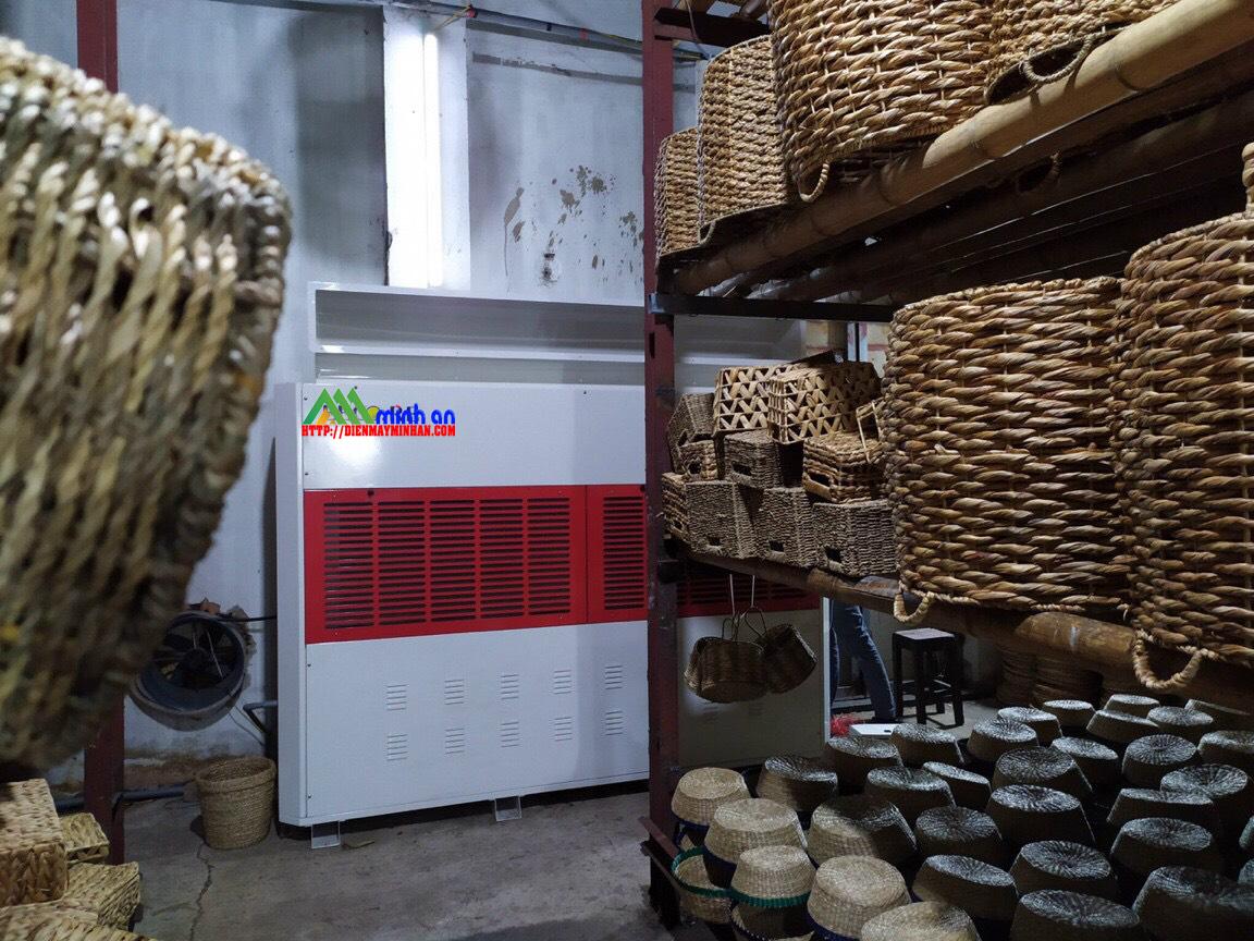 Máy hút ẩm công nghiệp sấy mây tre đan xuất khẩu.