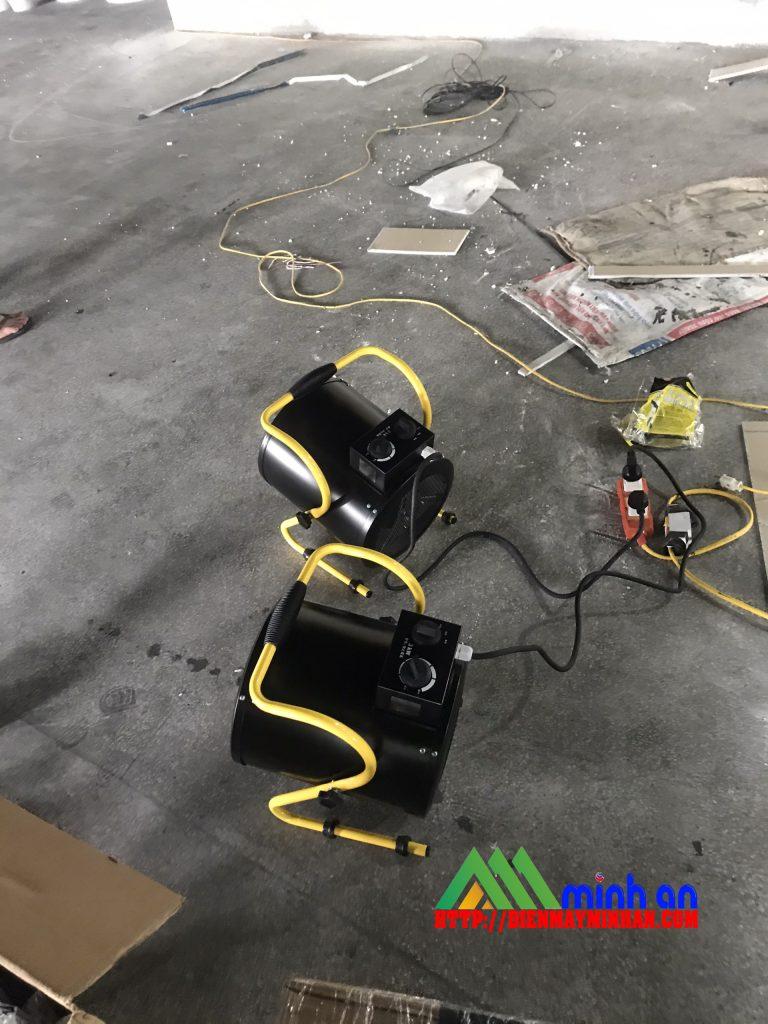 Đặt máy sấy gió nóng để sấy khô sơn